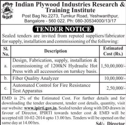 Supply of Hydraulic Hot Press (Indian Plywood Industries Research and Training Institute (IPIRTI))