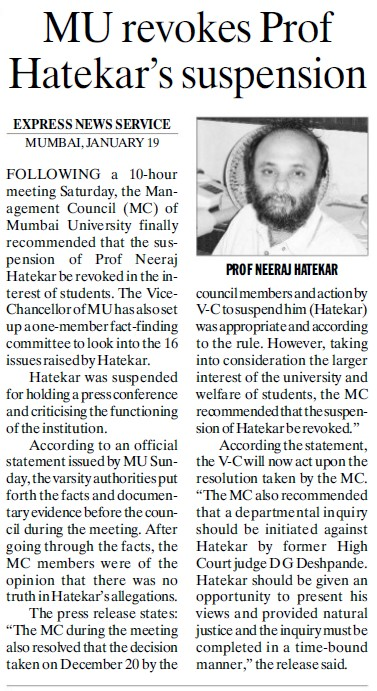 MU revokes Prof Hatekars suspension (University of Mumbai (UoM))
