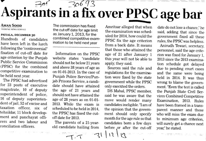 Aspirants in a fix over PPSC age bar (Punjab Public Service Commission (PPSC))
