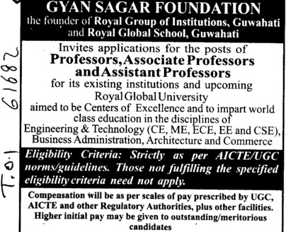 Asstt Professor for Business Administration (Royal Group of Institutions)