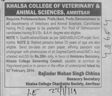 Asstt Professor and Demonstrator (Khalsa College of Veterinary and Animal Sciences)
