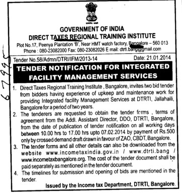 Integrated Facility Management Services (Direct Taxes Regional Training Institute)