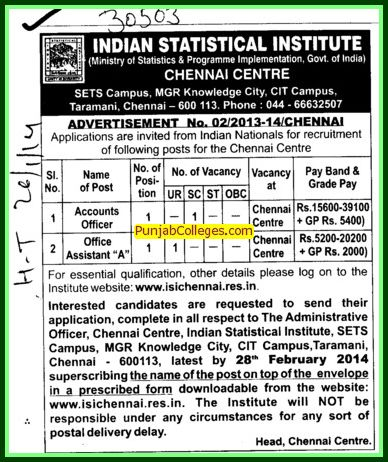 Accounts Officer and Office Assistant (Indian Statistical Institute)