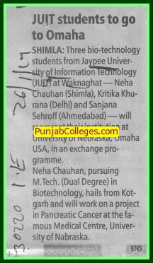 JUIT students to go to Omaha (Jaypee University of Information Technology (JUIT))