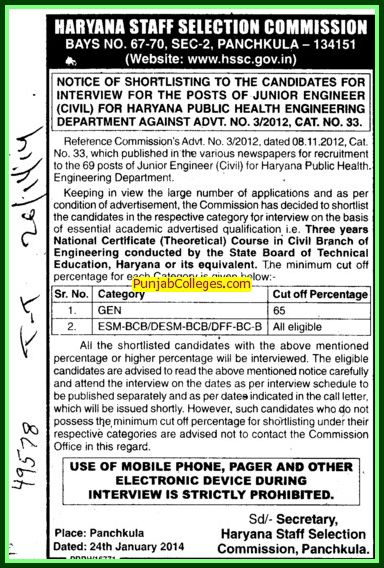Junior Engineer (Haryana Staff Selection Commission (HSSC))