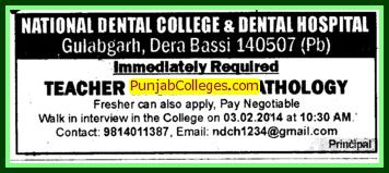 Teacher in General Pathology (National Dental College and Hospital Gulabgarh)