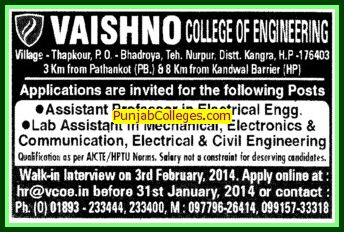 Lab Asstt in Mechanical Engineering (Vaishno College of Engineering)