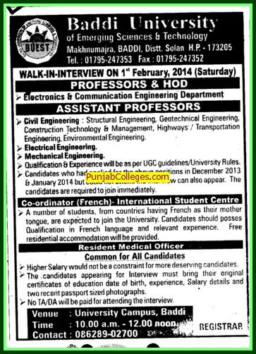 Asstt Professor in Civil Engg (Baddi University of Emerging Sciences and Technologies)