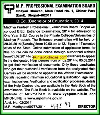 Bachelor of Education (MP Professional Examinational Board)