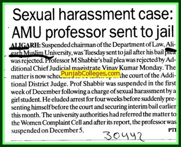 Professor M Shabbirs sent to jail for sexual harassment case (Aligarh Muslim University (AMU))