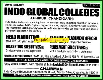 Training and Placement Officer (Indo Global Group of Colleges)