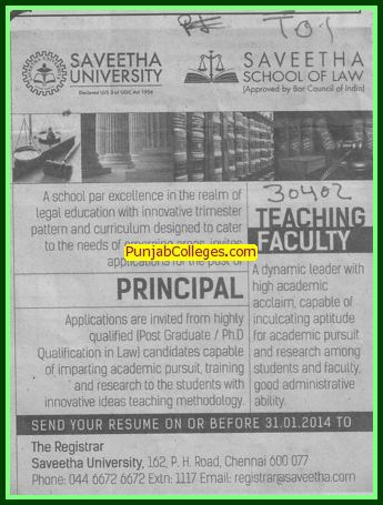 Principal on regular basis (Saveetha University)