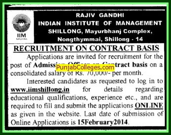 Admission Officer on contract basis (Rajiv Gandhi Indian Institute of Management (RGIIM))