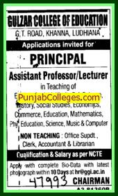 Asstt Professor and Lecturer (Gulzar Group of Instituties Khanna)