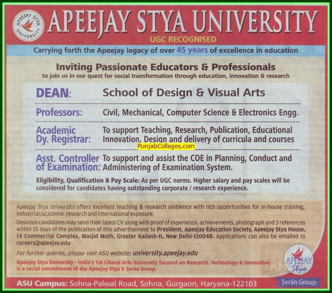 Asstt Controller and Dean (Apeejay Stya University)