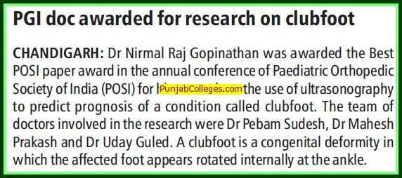 PGI doc awarded for research on clubfoot (Post-Graduate Institute of Medical Education and Research (PGIMER))