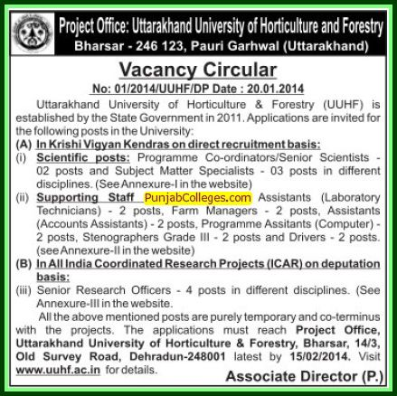 Senior Research Officer (Uttarakhand University of Horticulture and Forestry UUHF)