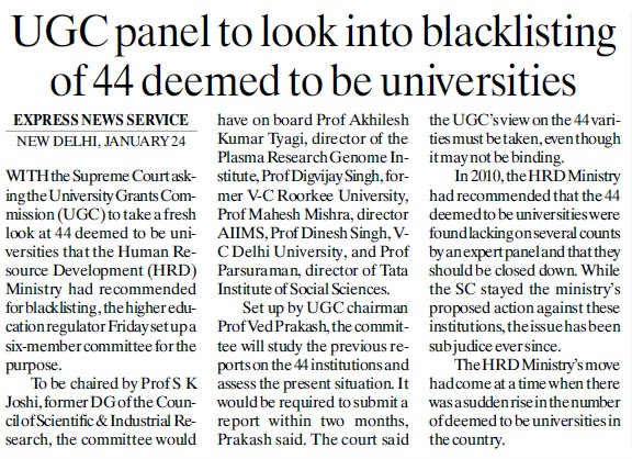 UGC panel to look into blacklisting of 44 deemed to be Universities (University Grants Commission (UGC))