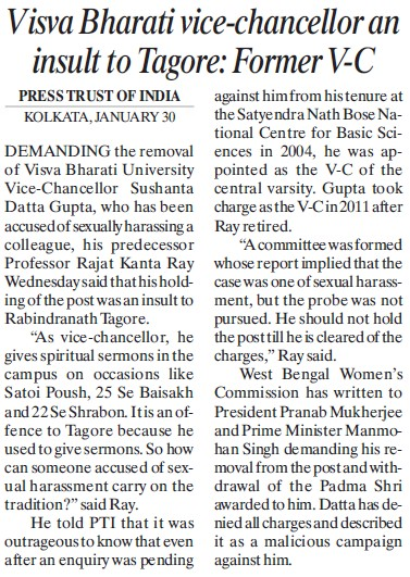 VC an insult to Tagore, Former VC (Visva Bharati University)