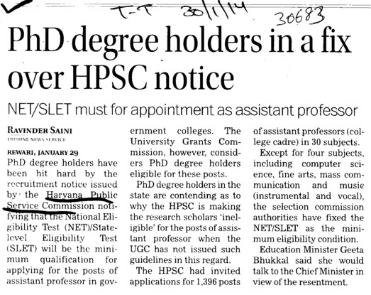 PhD Degree holders in fix over HPSC notice (Haryana Public Service Commission (HPSC))