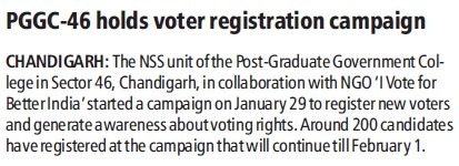 PGGC 46 holds voter registration campaign (Post Graduate Government College (Sector 11))