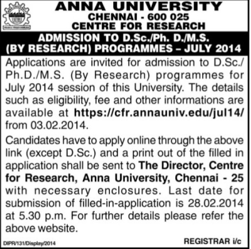 DSc and MS Course (Anna University)
