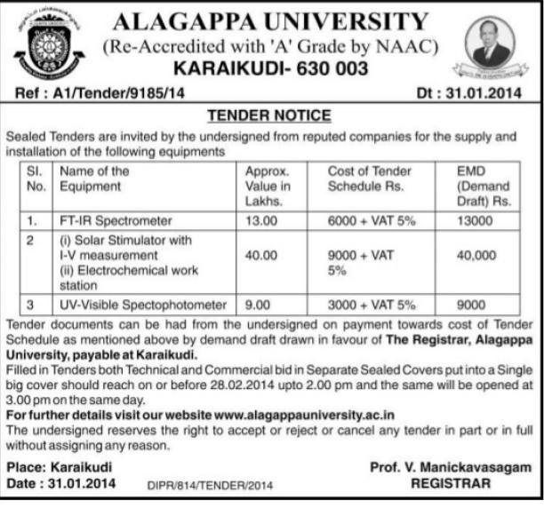 Supply of UV Visible Spectophotometer (Alagappa University)