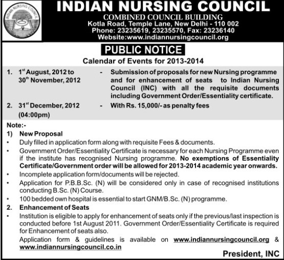 Submission of Proposal for New Nursing Course (Indian Nursing Council (INC))