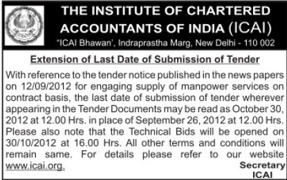 Supply of Manpower Services (Institute of Chartered Accountants of India (ICAI))