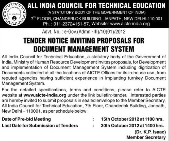 Proposals for Document Management System (All India Council for Technical Education (AICTE))