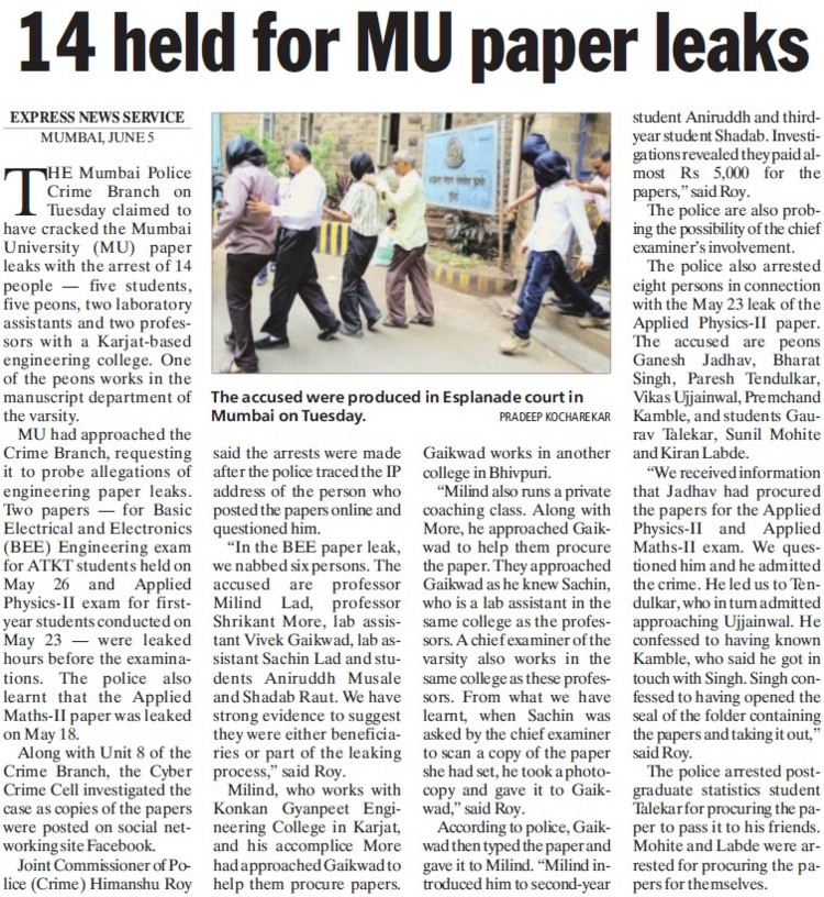 14 held for MU paper leaks (University of Mumbai)