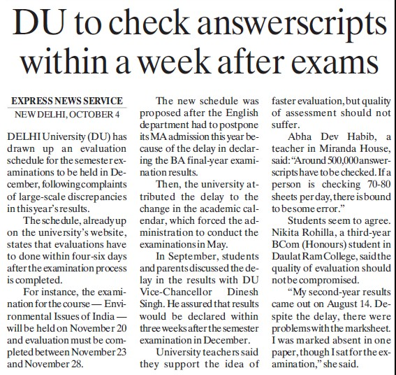 DU to check answerscripts within week after exams (Delhi University)