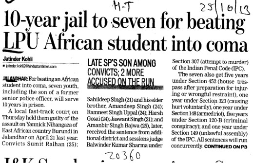 10 yrs jail to seven for beating LPU African student into coma (Lovely Professional University LPU)