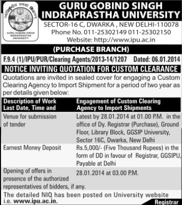 Quotation for Custom Clearance (Guru Gobind Singh Indraprastha University GGSIP)
