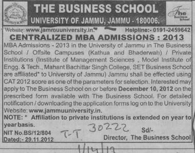 MBA course (Jammu University)