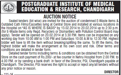 Auction of E waste items (Post-Graduate Institute of Medical Education and Research (PGIMER))