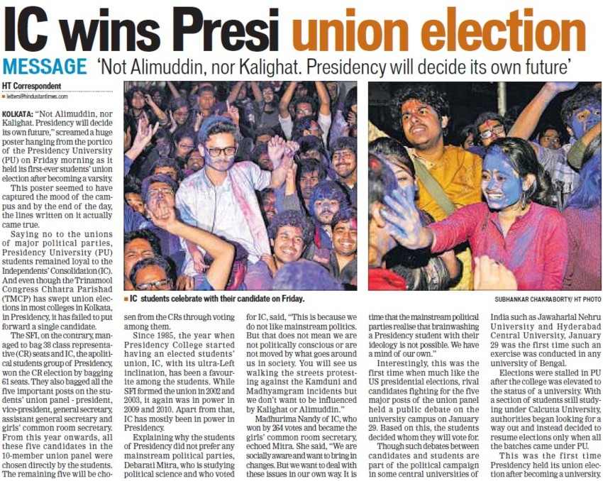 IC wins Presi Union election (Presidency University)