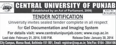 Supply of Gel Documentation and Imaging system (Central University of Punjab)