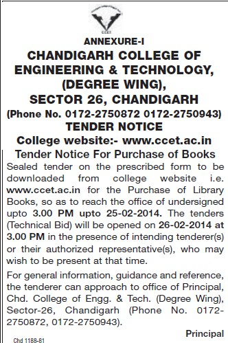 Purchase of Library books (Chandigarh College of Engineering and Technology (CCET))