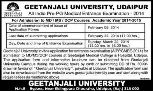 MD, MS and DCP courses (Geetanjali University)