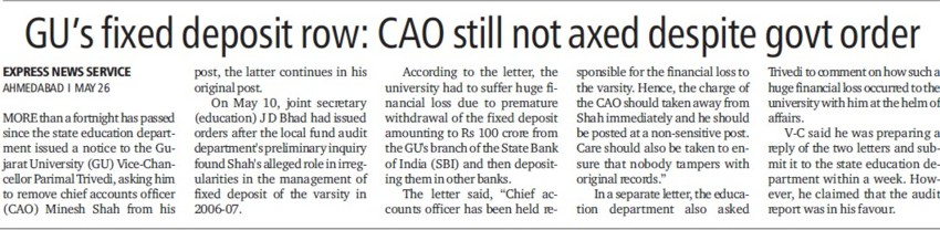 CAO still no axed despite govt order (Gujarat University)