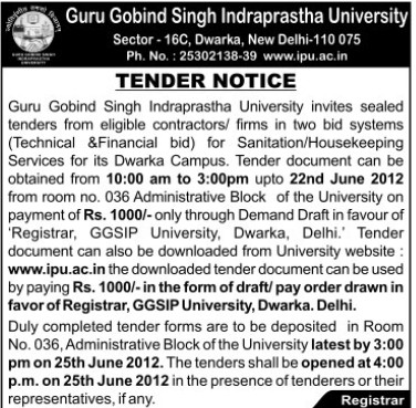 Supply and Sanitation and Housekeeping services (Guru Gobind Singh Indraprastha University GGSIP)