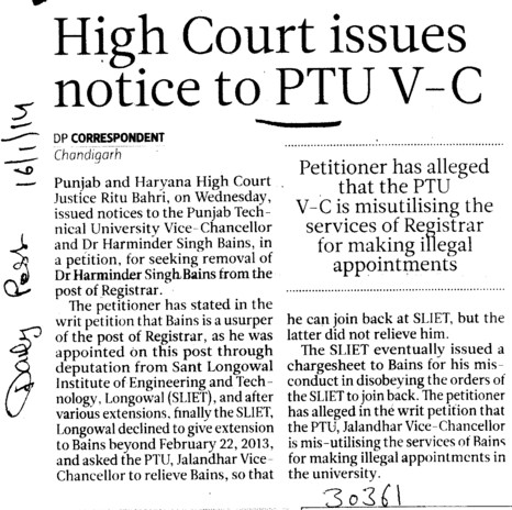 High Court issues notice to PTU VC (IK Gujral Punjab Technical University PTU)