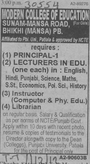 Principal, Lecturer and Librarian (Modern College of Education (for Girls))