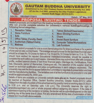 Supply of Chairs and Lab Furniture (Gautam Buddha University (GBU))
