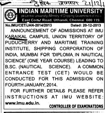 Diploma in Nautical Science (Indian Maritime University)