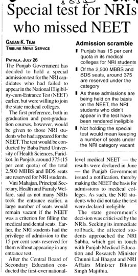 Special test for NRIs who missed NEET (Director Research and Medical Education DRME Punjab)