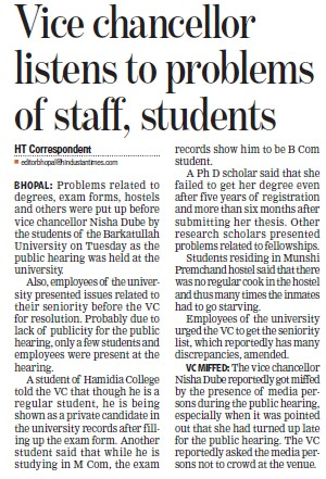 VC listens to problems to staff, students (Barkatullah University)