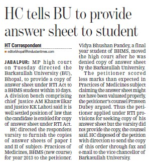HC tells BU to provide answer sheet to student (Barkatullah University)