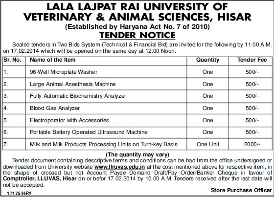 Supply of Blood Gas Analyzer (Lala Lajpat Rai University of Veterinary and Animal Sciences)